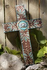 iron wall cross love: rustic chocolate brown concho cross with turquoise celebrate faith