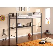 silver metal twin size loft bunk bed with long desk underneath bunk bed office space