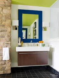 popular cool bathroom color: contrast two brights if you want your bathroom color