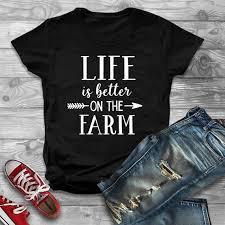 <b>OKOUFEN</b> Life Is Better On The Farm Shirt <b>Fashion</b> Letter Printed ...