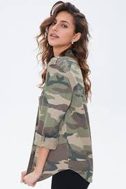 GenericWomen Military <b>Casual Camouflage</b> Pockets Button Down ...