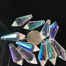 10Pc <b>Iridescent</b> Icicle Chandelier Crystals Lamp Prisms Chandelier ...