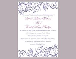 diy wedding invitation template editable text word file   wedding diy wedding invitation template editable text word file purple wedding invitation purple invitations