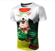 Fashion <b>Cute Pet</b> Watermelon Round Neck Rock <b>Men's</b> Casual T-Shirt