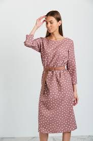 m2414 <b>Платье прямого силуэта в</b> горох