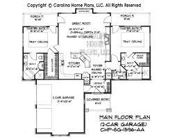 Small Craftsman Bungalow House Plan CHP SG   AA Sq Ft    SG  Main Floor Plan wth Garage