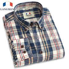 <b>Langmeng 2017</b> retro <b>spring</b> 100% cotton plaid casual shirts hot ...