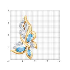 <b>Подвеска</b> «<b>Бабочка</b>» из золота с топазами и фианитами ...