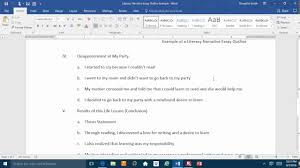 literacy narrative outline example literacy narrative outline example