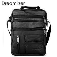 <b>Dreamlizer Real</b> Cowhide <b>Leather</b> Men Handbags Black Male ...