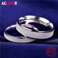 925 <b>Sterling Silver</b> Rings Woman Fashion Simple Couple Matte ...