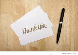 office and close up thank you note card and pen stock photo thank you note card and pen