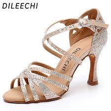DILEECHI <b>Latin dance</b> shoes big small <b>rhinestone</b> shining Bronze ...