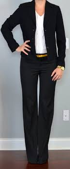 outfit post black suit jacket black suit pants white ruffle outfit post black suit jacket black suit pants white ruffle blouse yellow belt