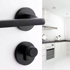 <b>Black space aluminum door</b> handle Interior / Bedroom door lock ...