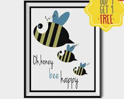 be happy quote kids poster bee happy nursery wall art blue posters baby boy gift newborn room decoration cute animal printable bees baby nursery cool bee animal