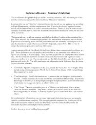 resume  examples of a resume summary  corezume co    examples building a resume summary statement  here is
