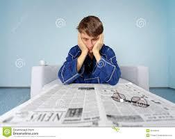 man newspaper hard a job royalty stock photos man newspaper hard a job