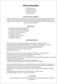 professional catering server templates to showcase your talent    resume templates  catering server