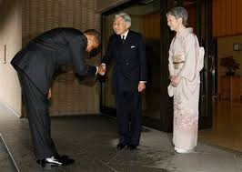 President Obama bowing remarkably low to Japanese Emperor Akihito (center) with Empress Michiko (right).