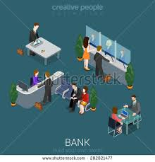 flat 3d isometric abstract bank office building floor interior detail elements concept vector counter desk abstract 3d office building