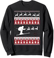 Skiing Ugly Christmas Sweater Xmas Sweatshirt ... - Amazon.com