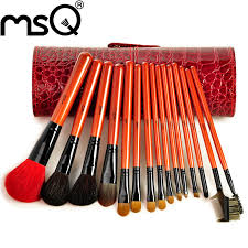 msq brand professional 16pcs makeup brush set soft hair with crocodile print cylinder for whole