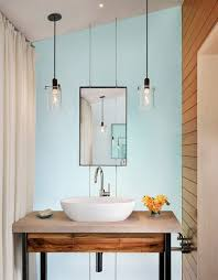 bath lighting ideas double pendant modern bathroom lighting above sink vessel and framed mirror in minimalist above mirror bathroom lighting