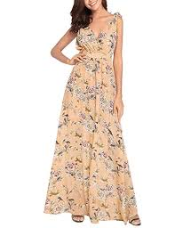 FeelinGirl <b>Women's</b> V-Neck <b>Floral Print</b> Chiffon Long Maxi Dress <b>S</b> ...