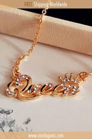<b>SHUANGR Luxury Gold-Color Queen</b> Crown Chain Necklace Zircon ...