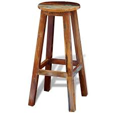 vidaXL <b>Bar Stool Reclaimed Solid</b> Wood Handmade Vintage Rustic ...