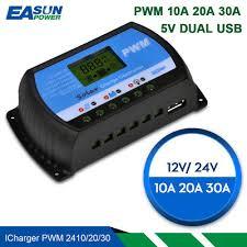 Solar Controller <b>12V 24V</b> Voltage Regulator <b>30A 20A 10A</b> PWM ...