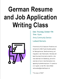 German Resume Writing Class to be Offered Thursday at Army Community     Job