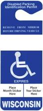 Wisconsin handicap placard