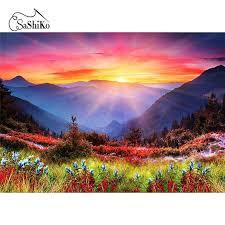 5D Diamond Painting Sunrise <b>Hillside</b> Stitch – Inlovearts