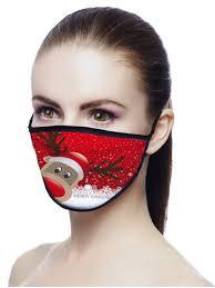 [25% OFF] <b>Christmas Elk Printed Air</b> Layer Fabric Face Mask | Rosegal