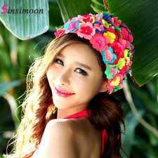 <b>New Arrival Flower</b> Swim Cap for Woman Swimming Hat for Long ...