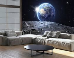 wallpaper wall murals woven clocks photo wallpaper wall murals non woven earth space moon sun modern art