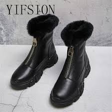 <b>YIFSION New</b> Black <b>Genuine Leather</b> Front Zip Women Boots ...