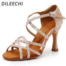 DILEECHI <b>Latin dance</b> shoes women NEW Bronze satin Shining ...