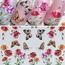 <b>1Sheet 3D Embossed</b> Flowers Leaf Water Sliders Nail Stickers ...