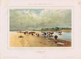 <b>Гравюра Кушнерёв и Ко</b> Стадо коров у воды. Литография ...