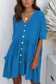 Blue <b>V Neck Button</b> Up Pocket Casual Dress | Short dresses casual ...