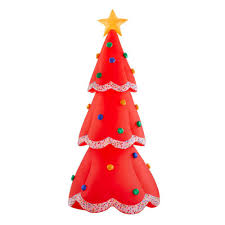 Airblown 12.5 ft. Inflatable Fuzzy <b>Plush</b> Red <b>Christmas Tree</b>-118431 ...