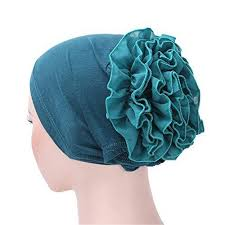 aliveGOT Women Ruffle Flower Elastic Turban Beanie Head Wrap ...