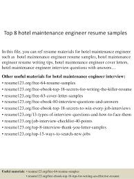 top 8 hotel maintenance engineer resume samples in this file you can ref resume materials sample hotel engineer resume