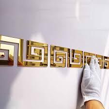 Acrylic Mirror Wall <b>Stickers</b> Geometric Greek Key <b>Pattern</b> Acrylic ...