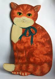 Charming Wooden <b>Vintage Hand Painted</b> Folk Art Ginger Cat ...