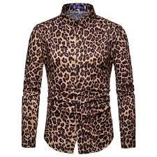 <b>2018 Autumn</b> Fashion Leopard <b>Shirts Men</b> Long Sleeve Black ...