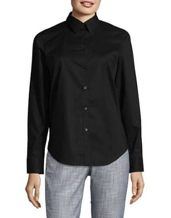 Chaps Camisa Abotonada Grande Mangas Tamaño Sin Algodón Regular De Negro HXwrXxa